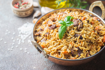 Lamb pilaf in a bowl