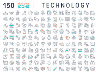 Set Vector Line Icons of Technology.