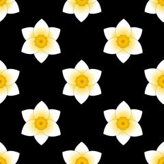 Narcissus bloom flower. Seamless pattern. Black background.