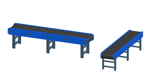 Empty conveyor belt. Isolated on white background. 3d Vector illustration.