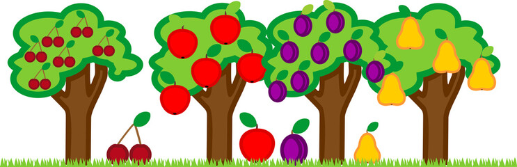 Different garden trees with ripe fruits isolated on white background