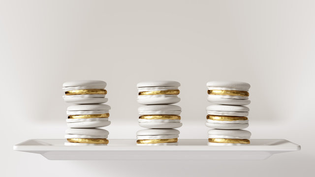 3 White and Gold Luxury Macrons Macaroon Towers 3d illustration 3d render