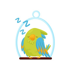 Cute green parrot sleeping on wooden perch. Bird with bright feathers. Adorable cartoon character. Flat vector icon
