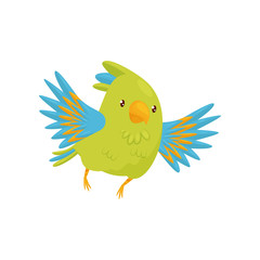 Cute parrot in flying action. Cartoon character of bird with bright green and blue feathers. Flat vector icon
