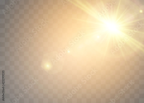 Sunlight on a transparent background  Glow light effects