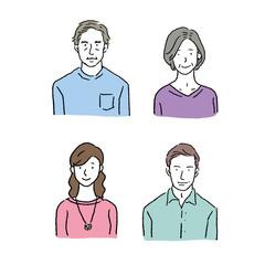 4人 家族 大人 イラスト セット