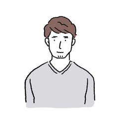 20代 男性 人物 上半身 イラスト