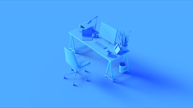 Blue Contemporary Office 3d illustration 3d rendering