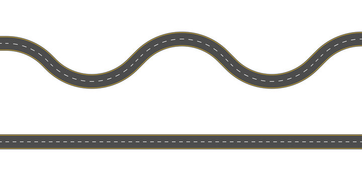 Straight and winding road road. Seamless asphalt roads template. Highway or roadway background. Vector illustration.