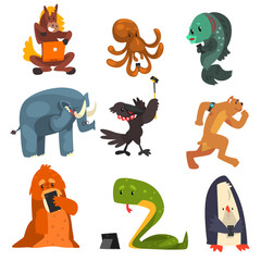 Wild animals using gadgets set, horse, octopus, fish, elephant, crow, dog, snake, penguin using smartphones, tablets and laptops vector Illustration on a white background