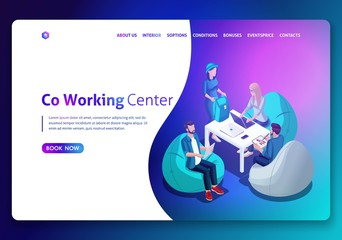 Website template design. Isometric concept Open workspace and coworking. Landing page concept.3D isometric vector illustration. Easy to edit and customize