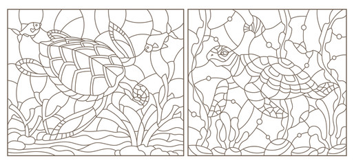 Set of contour illustrations of stained glass Windows with turtles on the background of the seabed, dark contours on a white background