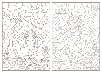 Set of contour illustrations of stained glass Windows with animals, elephant and unicorn on landscape background, dark contours on white background