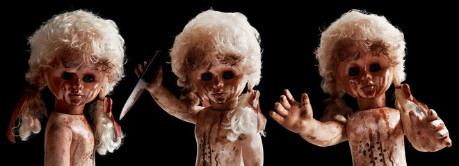 Set of scary doll isolated on black background