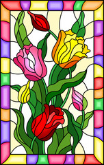 Illustration in stained glass style with a bouquet of  tulips on a yellow background in bright frame