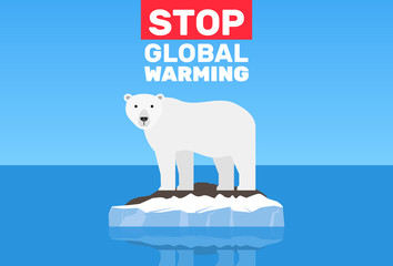 global warming change climate concept .polar bear on floe melting iceberg