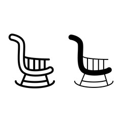 Rocking chair line and glyph icon. Stool vector illustration isolated on white. Armchair outline style design, designed for web and app. Eps 10.