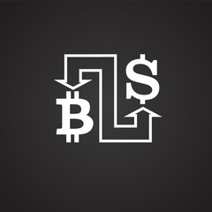 Bitcoin conversion dollar on black background icon