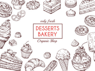 Sketch dessert background. Sweet cake delicious pie croissant and muffin. Hand drawn bakery menu vector template. Illustration of dessert pastry, cupcake and muffin drawing