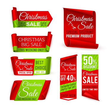Christmas sale banners. Red silk ribbons with christmas discount and winter xmas holiday offer text. Vector set of sale christmas label, discount banner xmas illustration