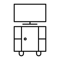 Tv stand thin line icon. Stand with tv vector illustration isolated on white. Tv table outline style design, designed for web and app. Eps 10.