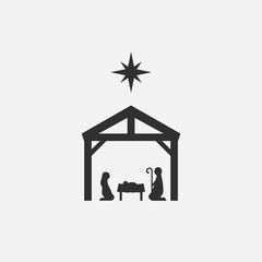Birth of Christ, Silhouette of Mary, Joseph and Jesus isolated on white background. Vector illustration.
