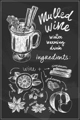 Vector chalk sketch drawing set. Mulled wine ingredients. Mulled wine glass, orange and apple slice, cardamom, star anise, cinnamon stick, clove on chalkboard. Winter menu, Christmas background.