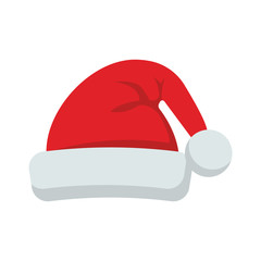 Santa Claus hat flat style icon. Vector illustration.