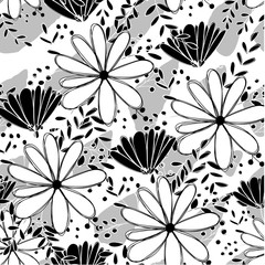 Seamless pattern white and black camomlile absctract flower
