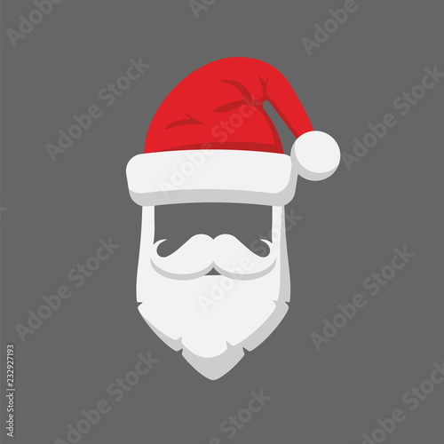 7504cb958affb0 Santa Claus hat and beard template icon isolated on white background. Vector  illustration.