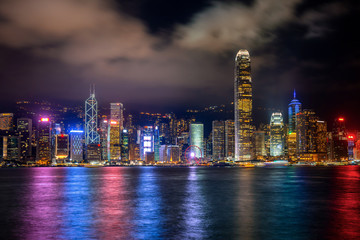 Wall Mural - Hong Kong cityscape at night.