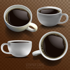 Four white porcelain coffee cups in different angles on a checkered brown background. High detailed realistic illustration.