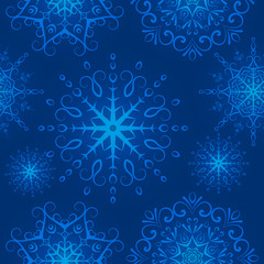 Winter seamless texture, endless pattern with snowflakes, snowfall. Seamless pattern can be used for wallpaper, pattern fills, web page background, surface textures.