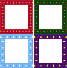 Christmas or new year multiciolored border set on white background.