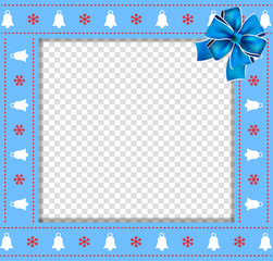 Cute Christmas or new year border with xmas bells, snowflakes pattern and blue bow on transparent background.