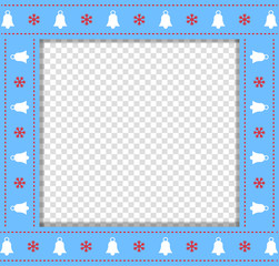 Cute Christmas or new year blue border with xmas bells and snowflakes pattern isolated on transparent background.