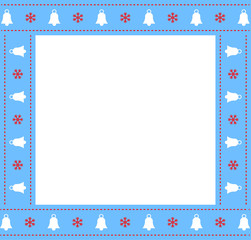 Cute Christmas or new year blue border with xmas bells and snowflakes pattern isolated on white background.