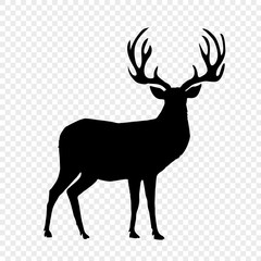 Black silhouette of reindeer with big horns on transparent background