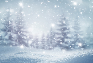 Winter  background .Merry Christmas and happy New Year greeting card with copy-space. Christmas landscape with snow and fir tree