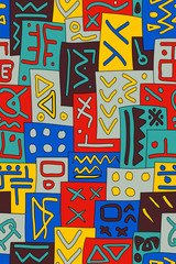 African Tribal Seamless Vector Pattern. Abstract Hand-Drawn Ethnic Background. Vertical Orientation
