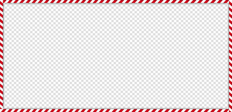 rectangle candy cane frame with red and white striped lollipop pattern on transparent background.