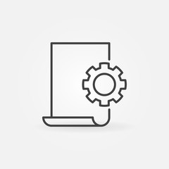 Document settings line icon - vector Document with Cog sign