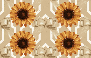 Printable seamless vintage autumn repeat pattern background with sunflowers. Botanical wallpaper, raster illustration in super High resolution.