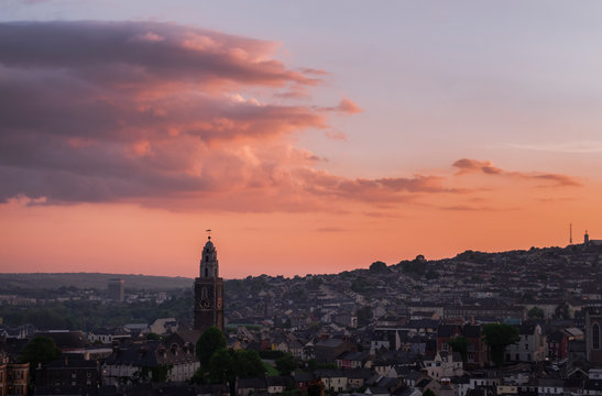 Sunset in Cork City, Ireland.