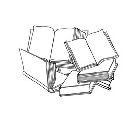 Open book. Linear icon with books. Hand drawn vector illustration.