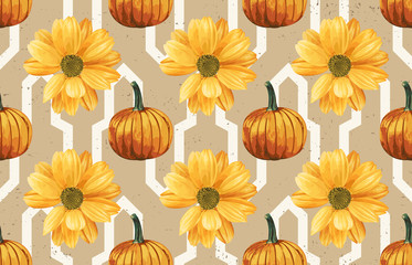 Printable seamless vintage repeat pattern background with yellow chrysanthemum flowers and pumpkins. Botanical wallpaper, raster illustration in super High resolution.