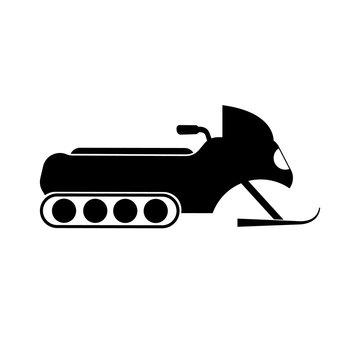 Snowmobile icon, logo on white background
