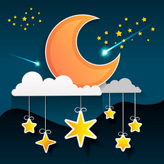 Paper art moon, fluffy clouds and stars in midnight.Origami paper art style.