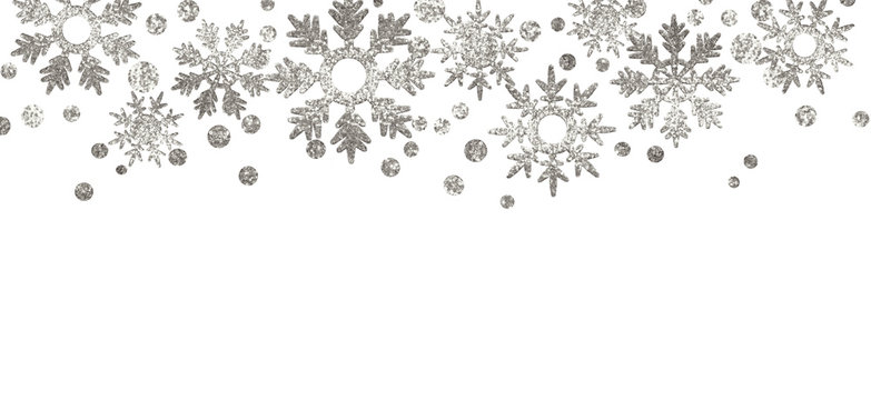 Silver textured snowflakes border