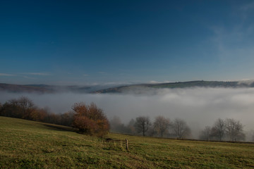 Acrylic Prints Village Nice morning with inversion in valley near Zitkova village